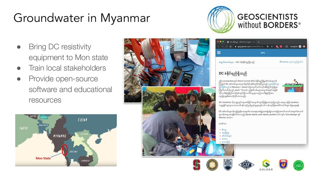 Groundwater in Myanmar ● Bring DC resistivity e...