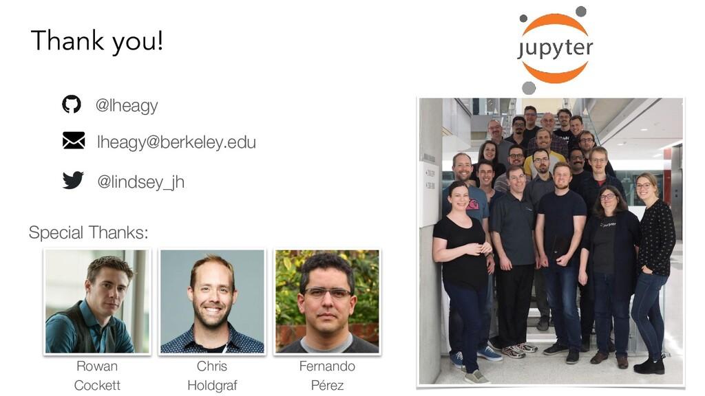 Thank you! @lheagy lheagy@berkeley.edu @lindsey...