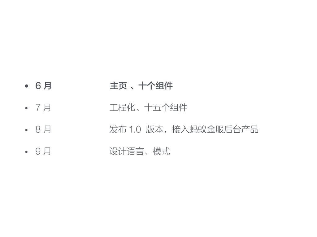 • 6 月 主页 、十个组件 • 7 月 工程化、十五个组件 • 8 月 发布 1.0 版本,...