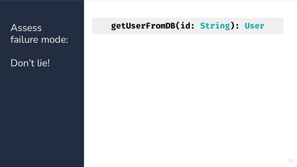 getUserFromDB(id: String): User 19 Assess failu...