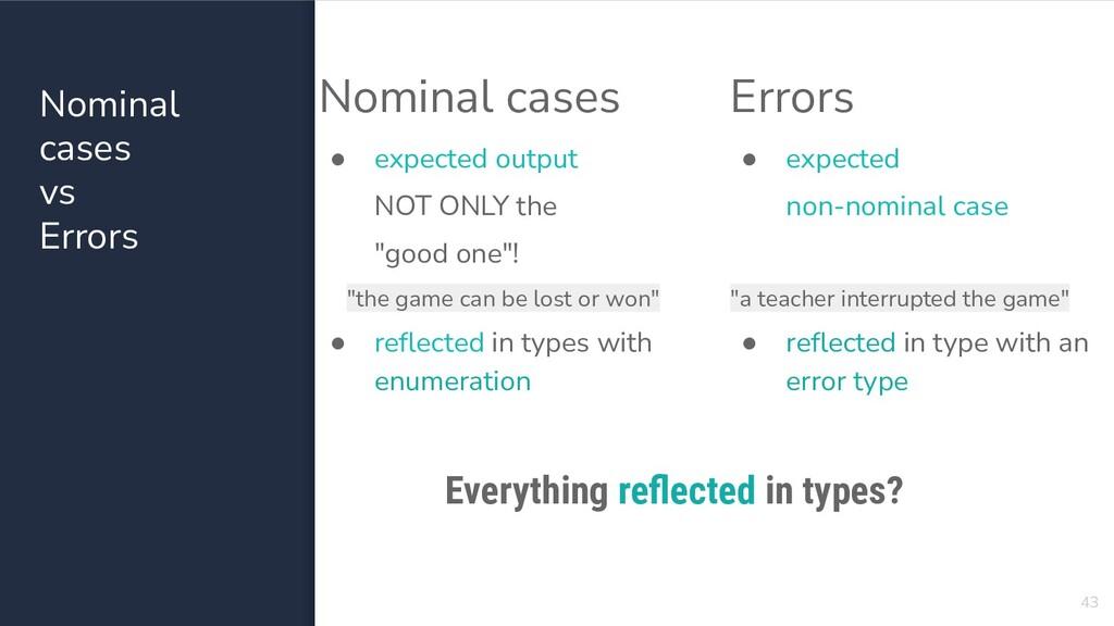 Nominal cases vs Errors 43 Nominal cases ● expe...