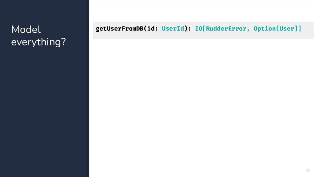 Model everything? 44 getUserFromDB(id: UserId):...