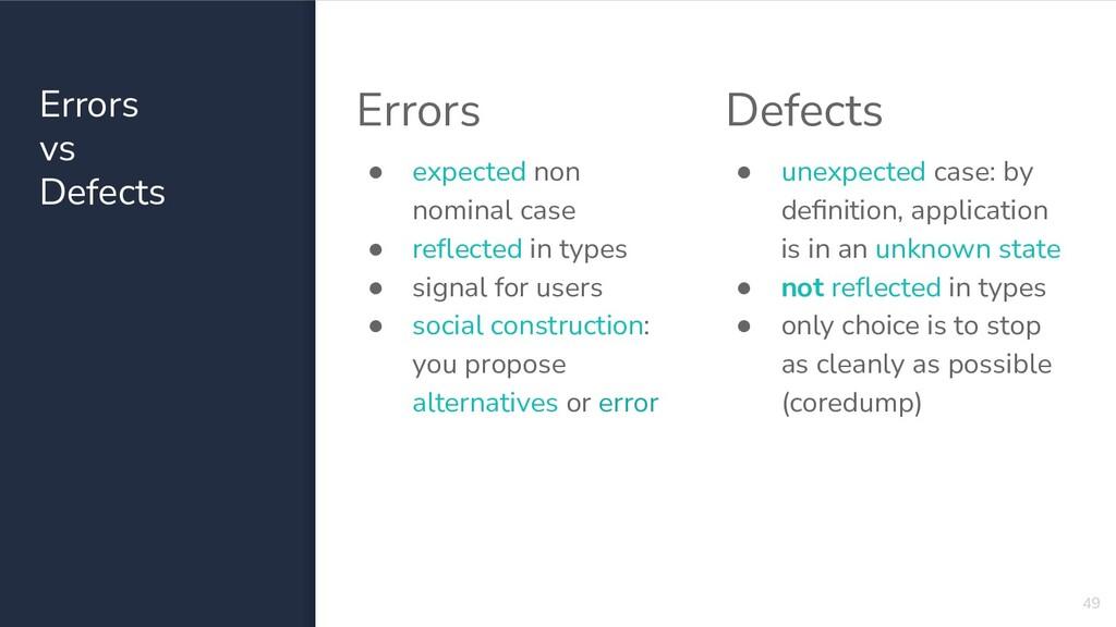 Errors vs Defects 49 Errors ● expected non nomi...