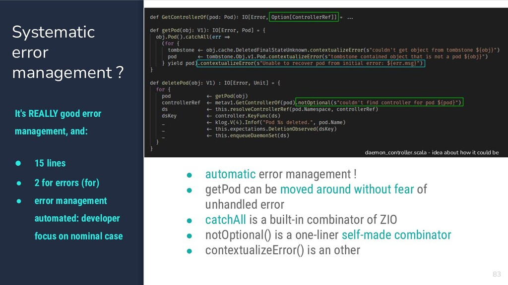 83 Systematic error management ? ● 15 lines ● 2...