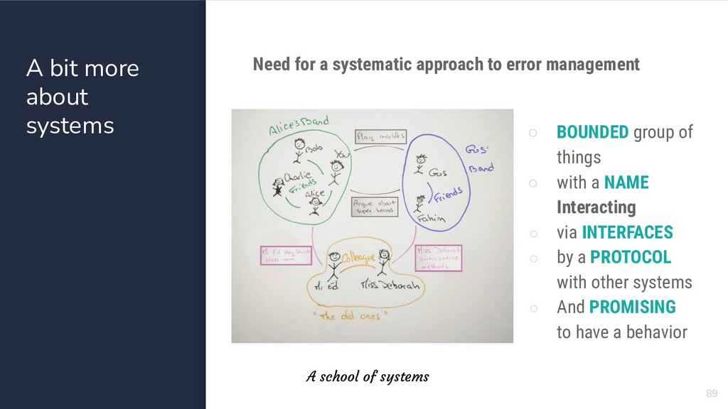 A bit more about systems Need for a systematic ...