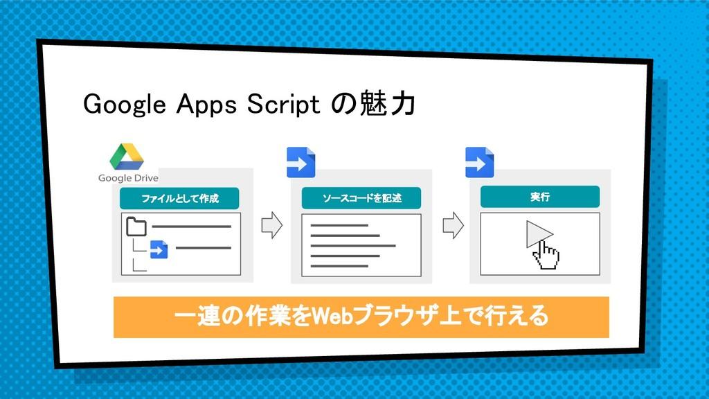 Google Apps Script の魅力 ファイルとして作成 ソースコードを記述 実行 一...