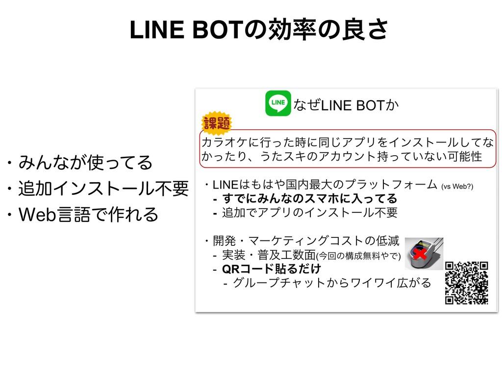 LINE BOTͷޮͷྑ͞ ɾΈΜͳ͕ͬͯΔ ɾՃΠϯετʔϧෆཁ ɾ8FCݴޠͰ࡞...