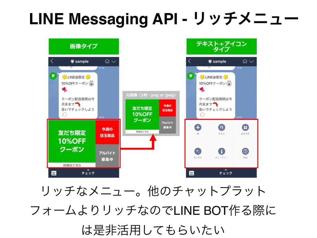 LINE Messaging API - Ϧονϝχϡʔ Ϧονͳϝχϡʔɻଞͷνϟοτϓϥο...