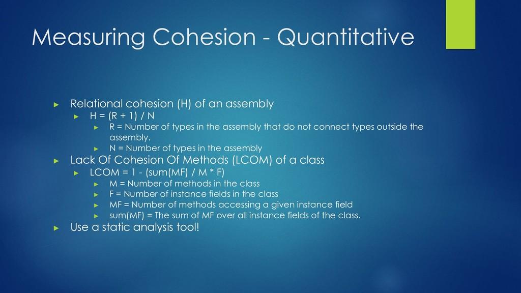 Measuring Cohesion - Quantitative ▶ Relational ...