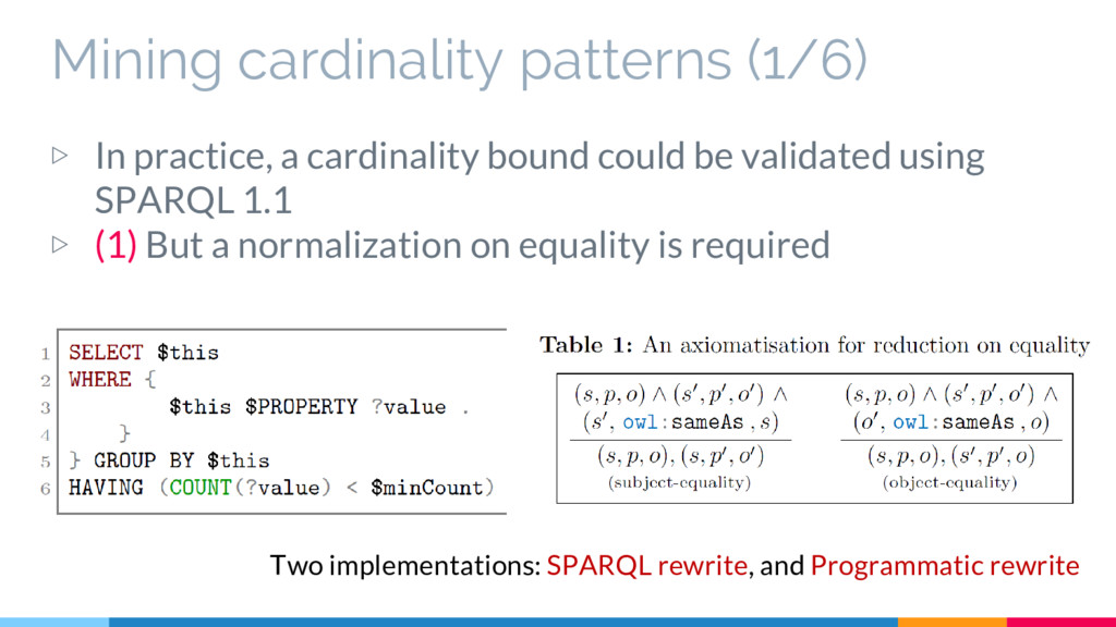 Mining cardinality patterns (1/6) ▷ In practice...