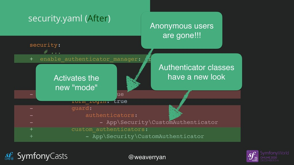 security.yaml (After) security: # ... + enable_...