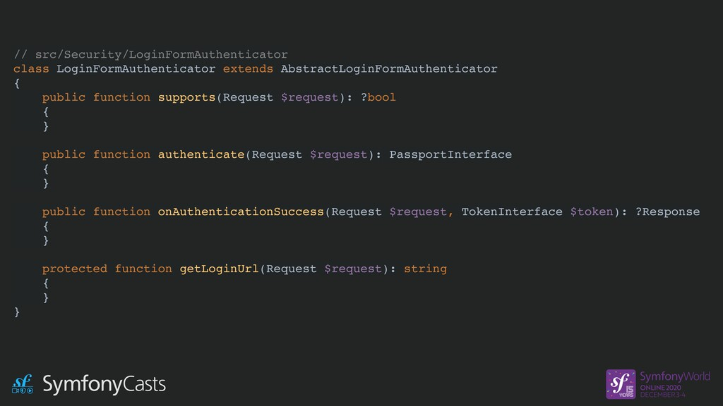 // src/Security/LoginFormAuthenticator class Lo...