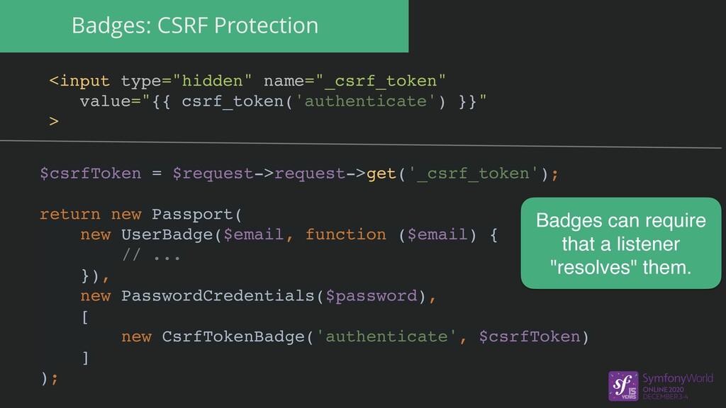 "Badges: CSRF Protection <input type=""hidden"" na..."