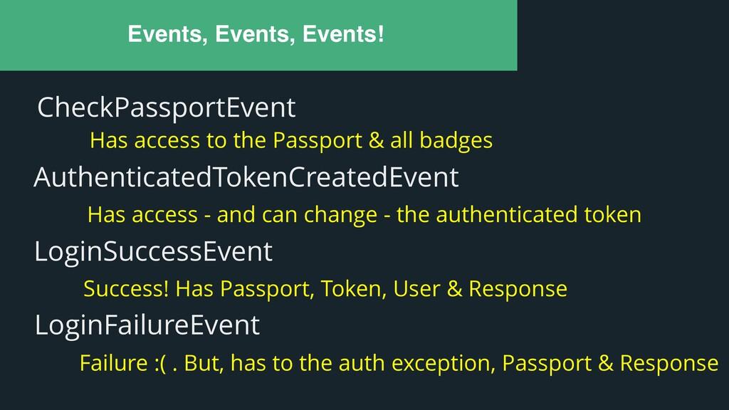 Events, Events, Events! CheckPassportEvent Has ...
