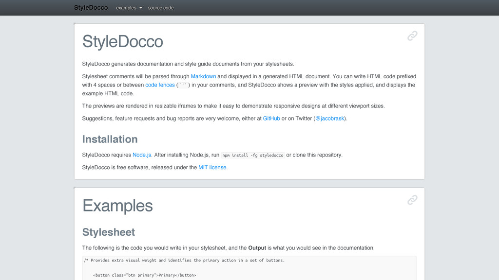 StyleDocco StyleDocco generates documentation a...