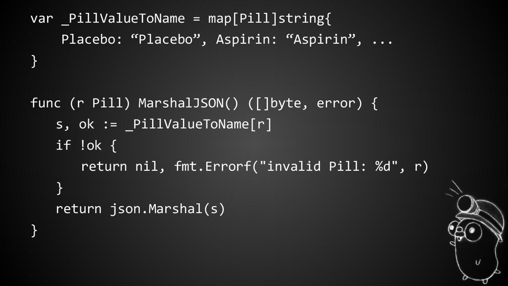 var _PillValueToName = map[Pill]string{ Placebo...