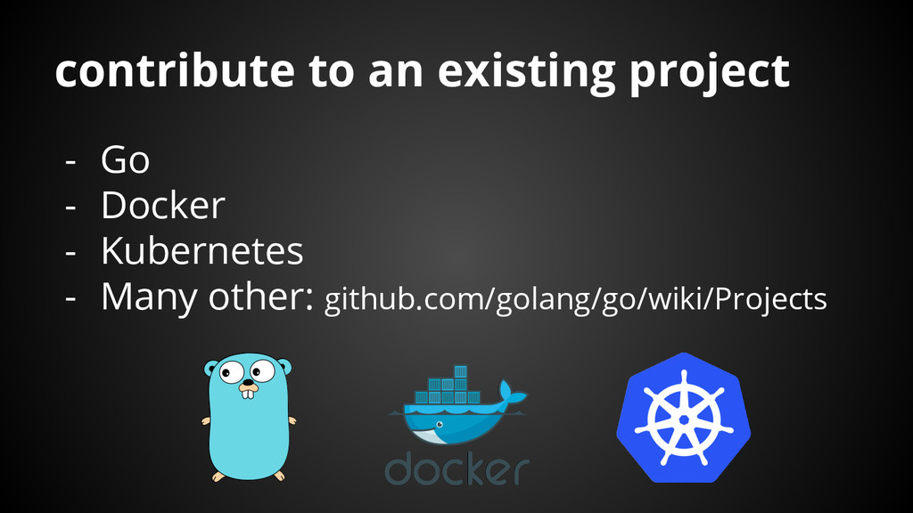 contribute to an existing project - Go - Docker...