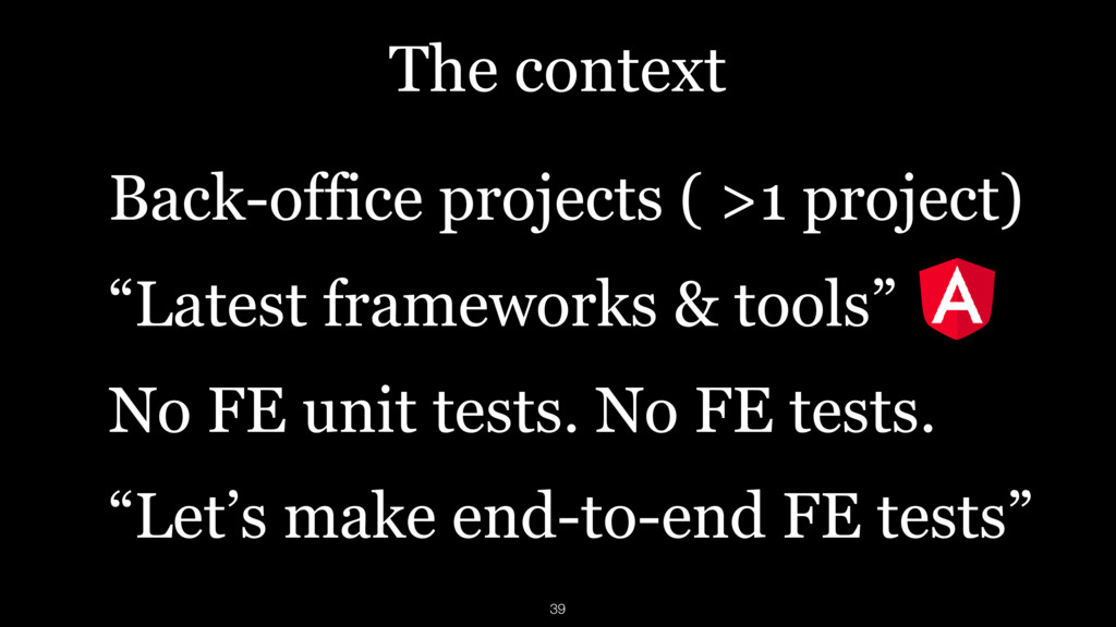 The context Back-office projects ( >1 project) ...