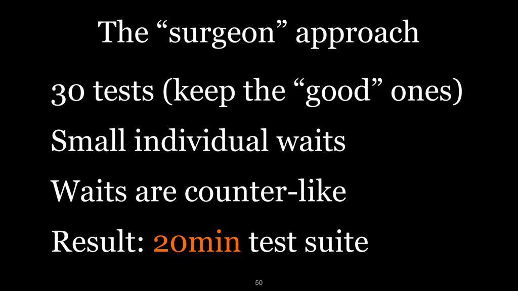"""The """"surgeon"""" approach 30 tests (keep the """"good..."""