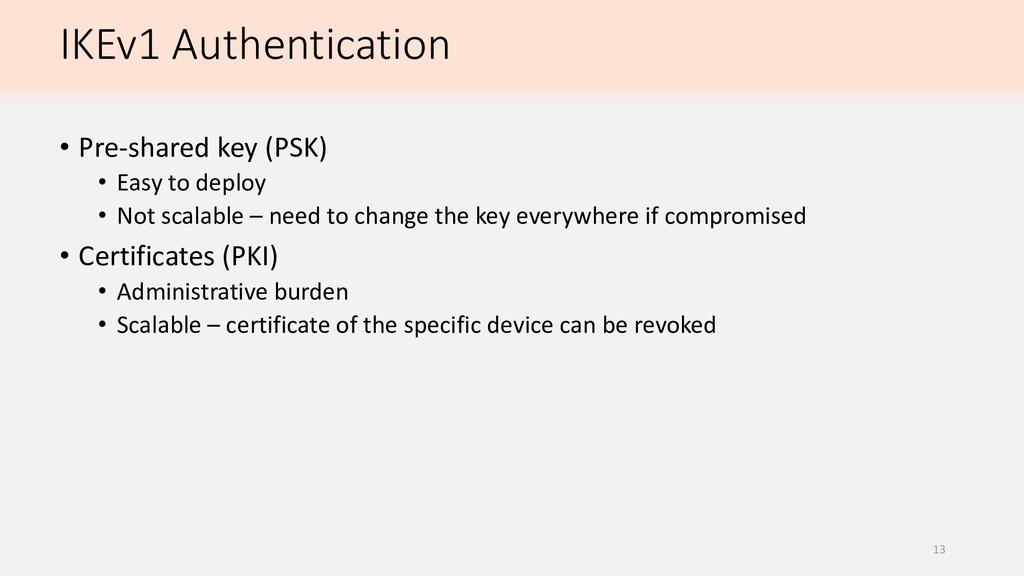 IKEv1 Authentication • Pre-shared key (PSK) • E...