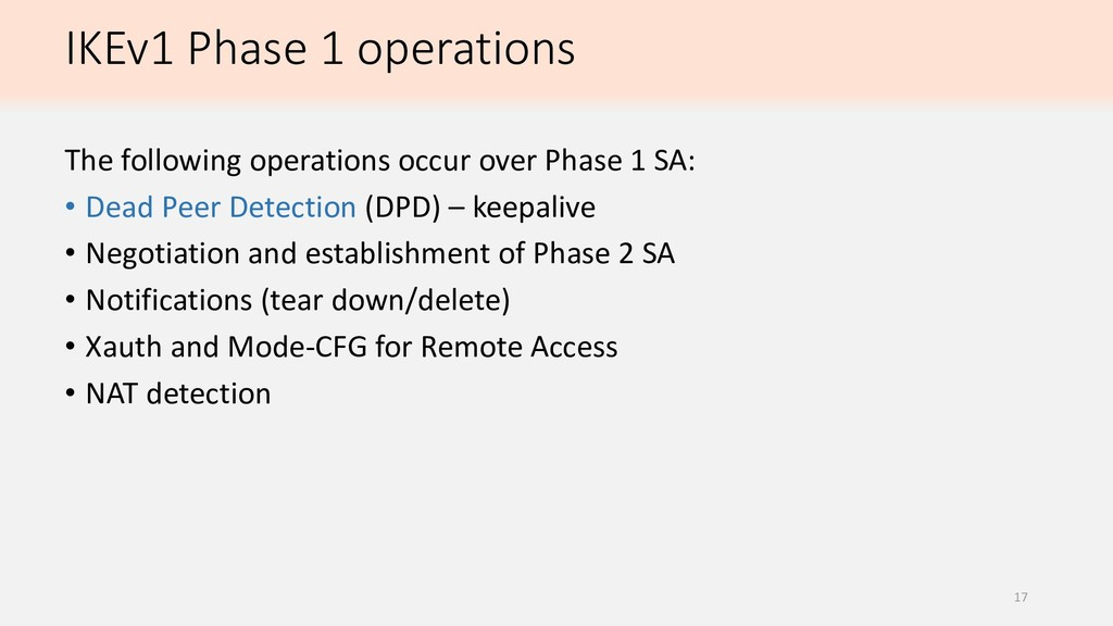 IKEv1 Phase 1 operations The following operatio...