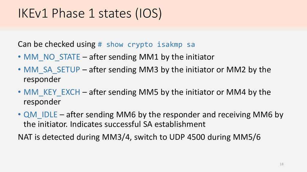 IKEv1 Phase 1 states (IOS) Can be checked using...