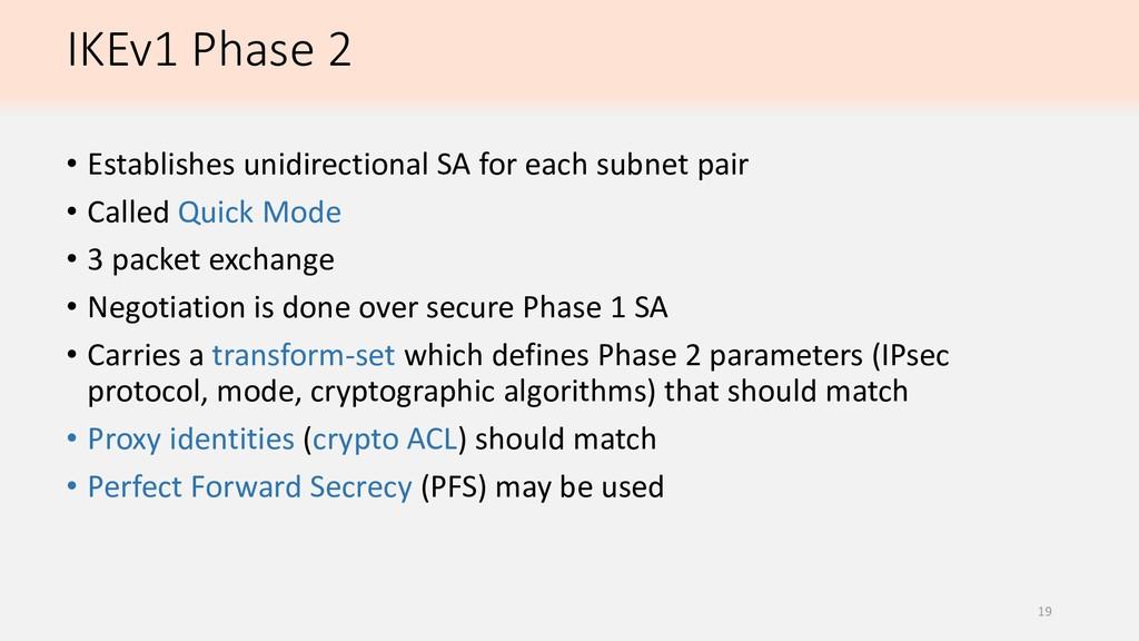 IKEv1 Phase 2 • Establishes unidirectional SA f...