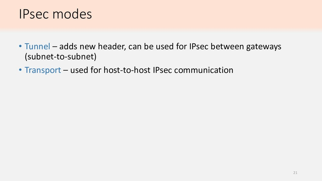 IPsec modes • Tunnel – adds new header, can be ...