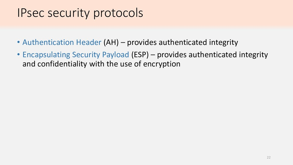 IPsec security protocols • Authentication Heade...