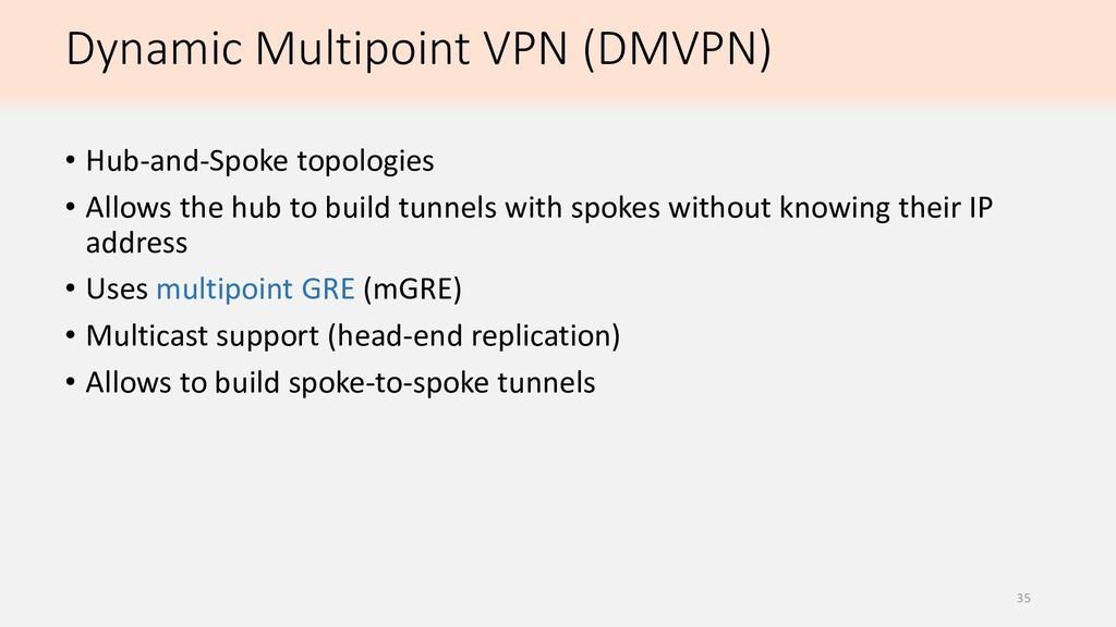 Dynamic Multipoint VPN (DMVPN) • Hub-and-Spoke ...