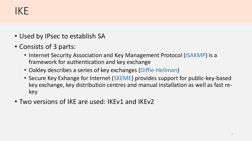 IKE • Used by IPsec to establish SA • Consists ...