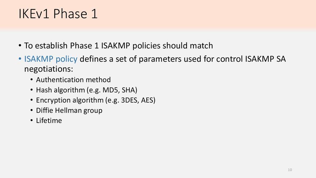 IKEv1 Phase 1 • To establish Phase 1 ISAKMP pol...
