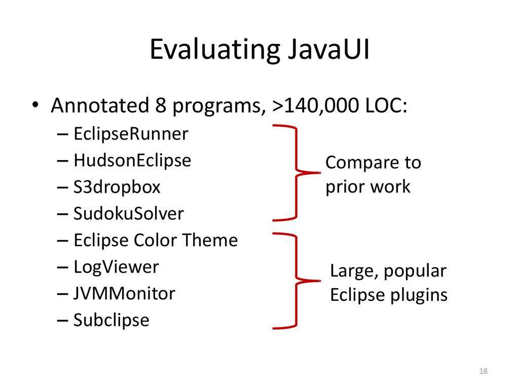 Evaluating JavaUI • Annotated 8 programs, >140,...