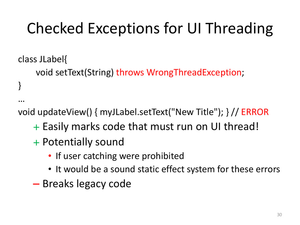 Checked Exceptions for UI Threading class JLabe...