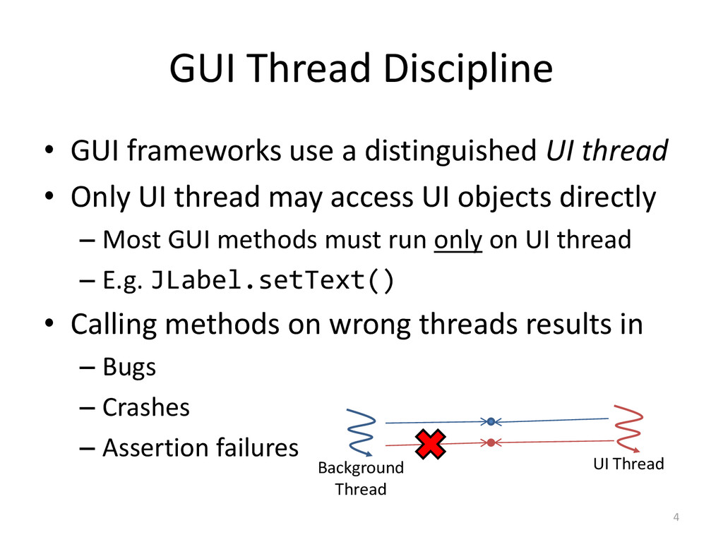 GUI Thread Discipline • GUI frameworks use a di...