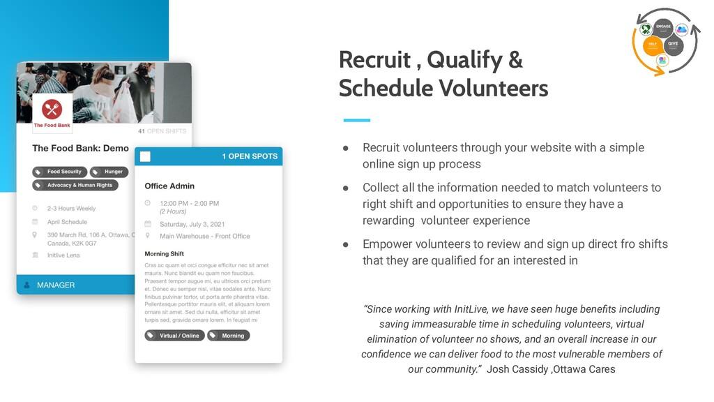 ● Recruit volunteers through your website with ...