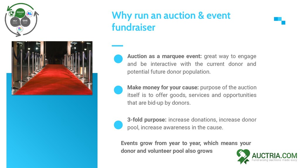 Auction as a marquee event: great way to engage...