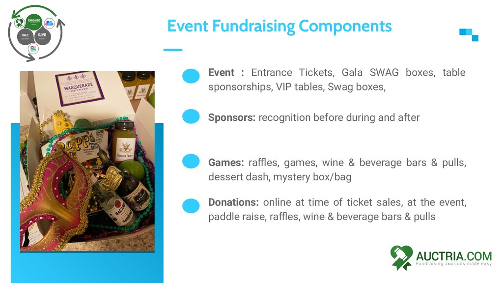 Event : Entrance Tickets, Gala SWAG boxes, tabl...