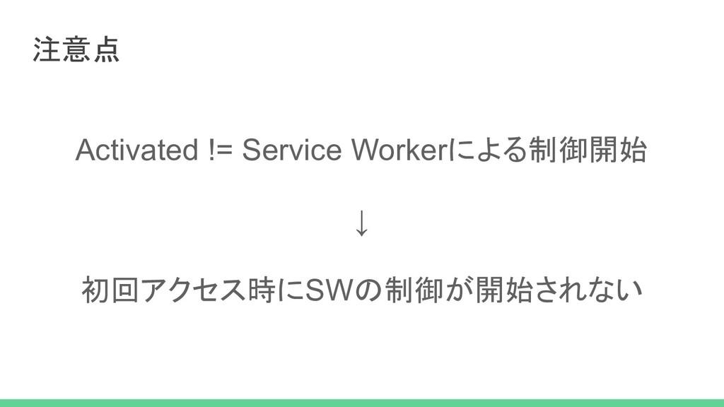 注意点 Activated != Service Workerによる制御開始 ↓ 初回アクセス...
