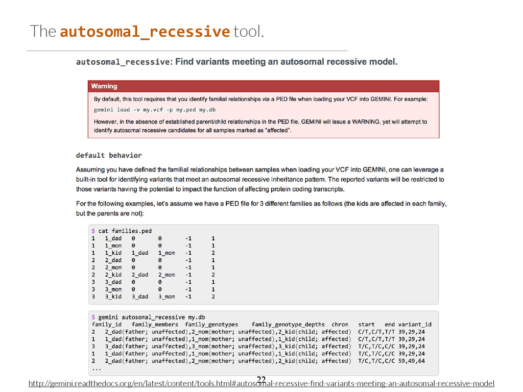 The autosomal_recessive tool. http://gemini.rea...