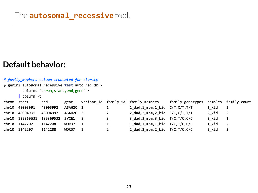 The autosomal_recessive tool. Default behavior:...