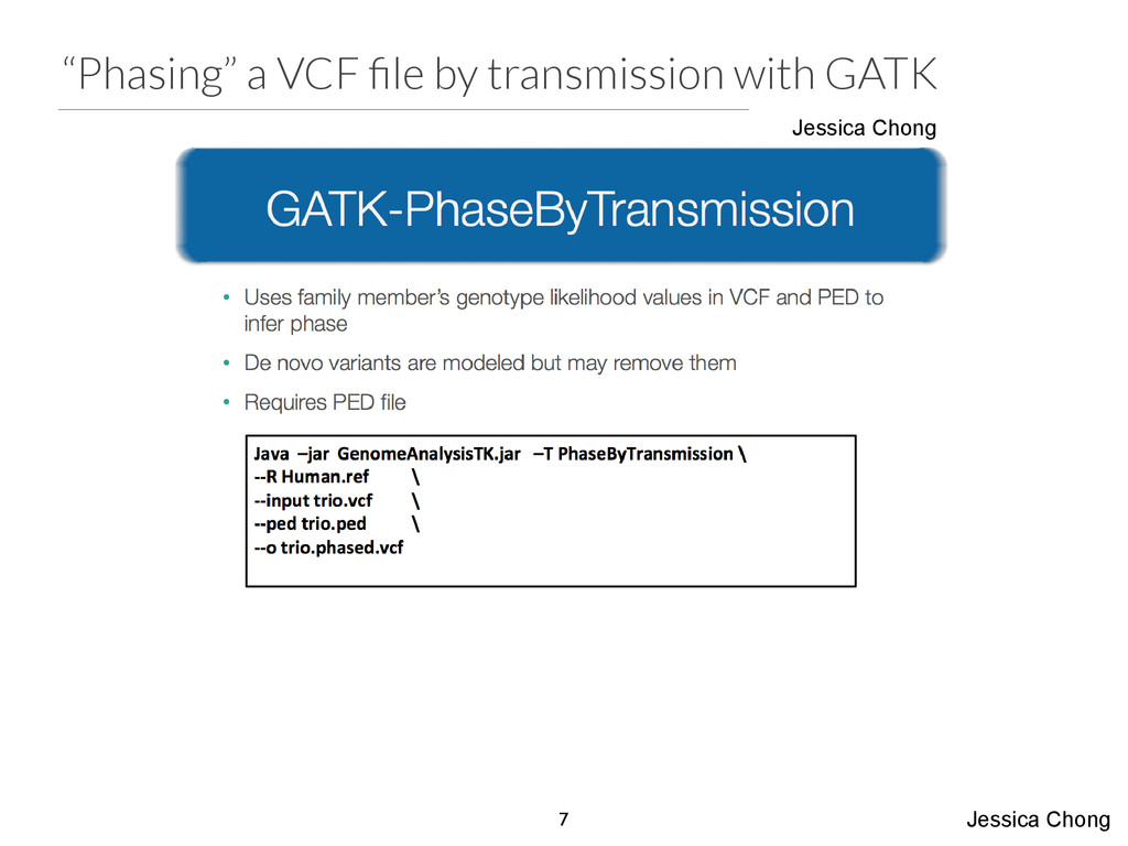 """Phasing"" a VCF file by transmission with GATK J..."