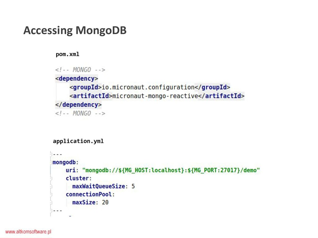 pom.xml application.yml Accessing MongoDB