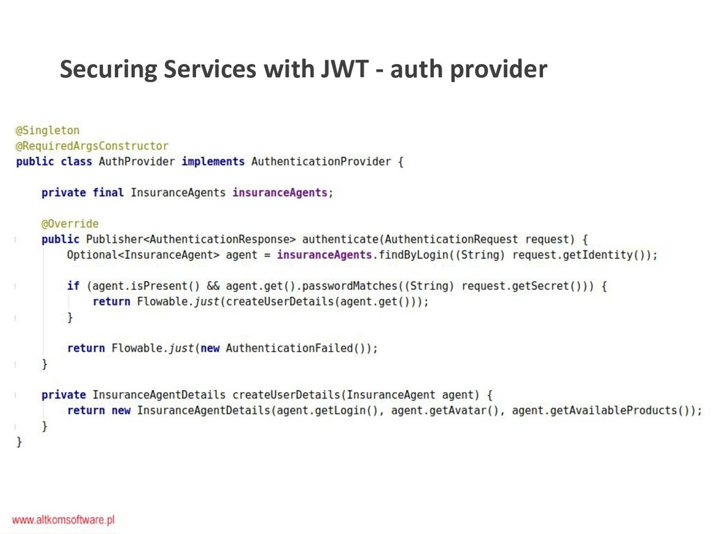 Securing Services with JWT - auth provider