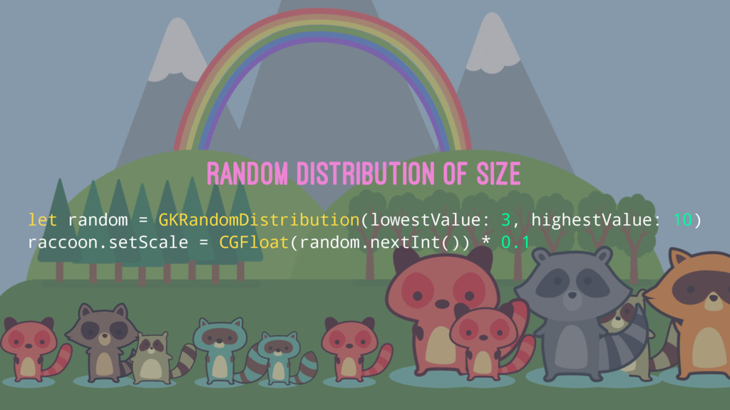 Random distribution of size let random = GKRand...