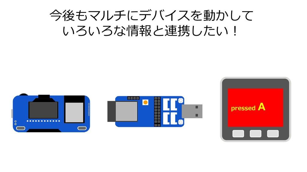 今後もマルチにデバイスを動かして いろいろな情報と連携したい! pressed A