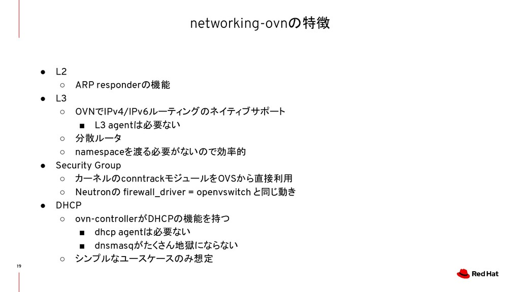 networking-ovnの特徴 19 ● L2 ○ ARP responderの機能 ● ...
