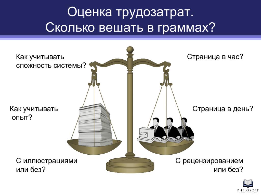 Оценка трудозатрат. Сколько вешать в граммах? С...