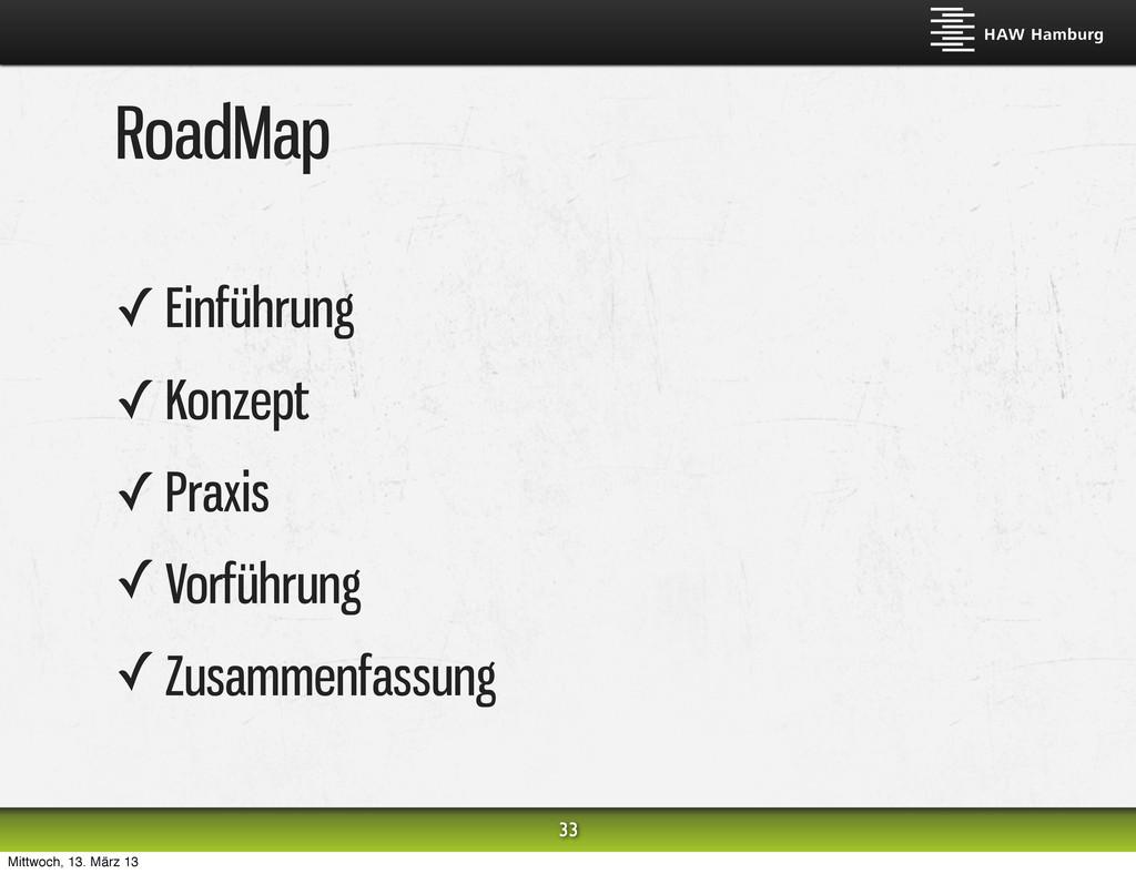 RoadMap ✓ Einführung ✓ Konzept ✓ Praxis ✓ Vorfü...