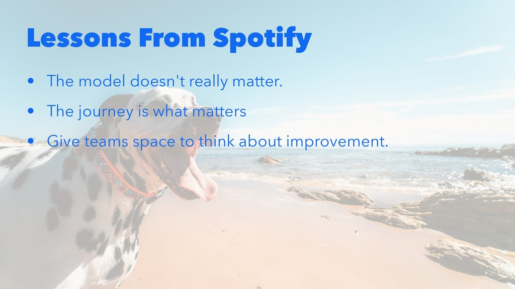 Lessons From Spotify • The model doesn't really...